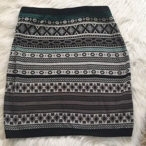 Merona Knit Skirt Black Teal Print Cotton Large